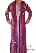 Caftan rose Velours manches longues avec broderies