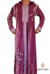 Long-sleeved pink velvet kaftan with embroidery