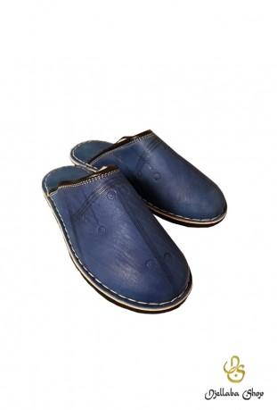 Blaue Lederpantoffeln