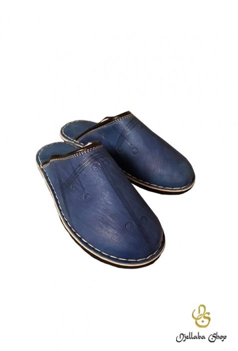 Babouches en cuir bleu