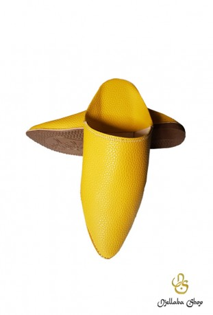 Slippers man in yellow leather