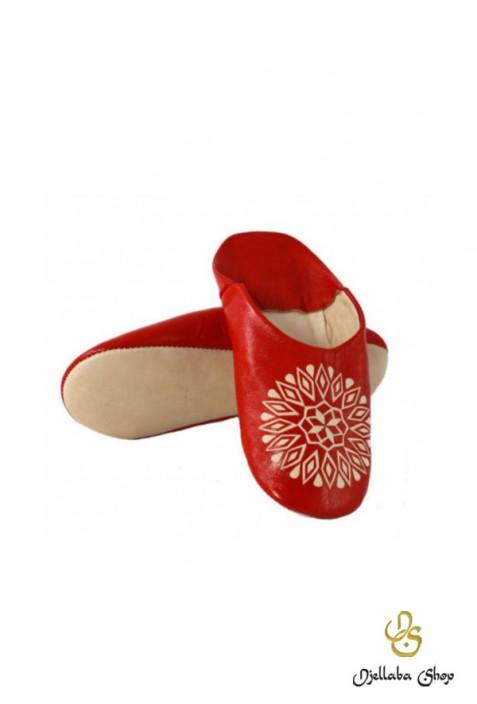 Pantuflas mujer cuero genuino rojo