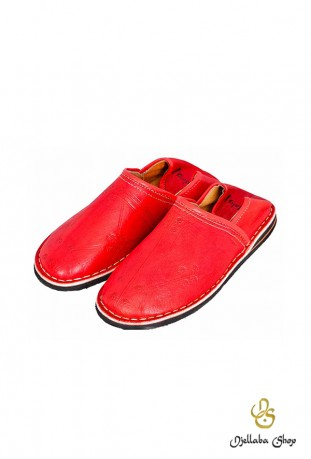 Red leather slippers