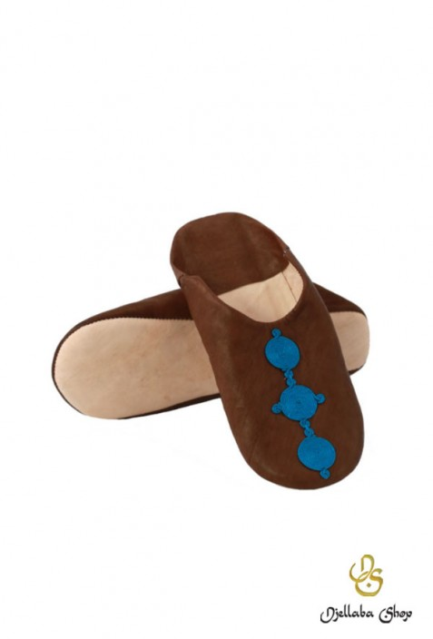 Babouches child brown leather