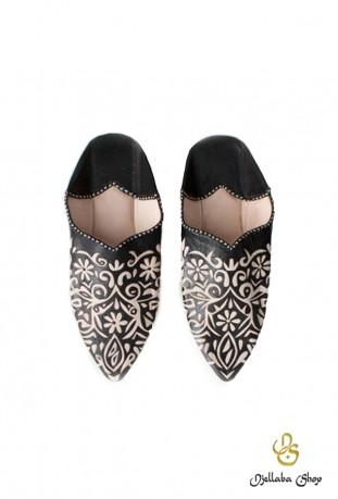 Zapatillas mujer en piel negra