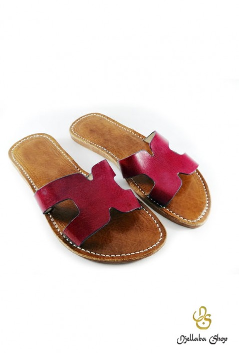 Women's red leather sandals