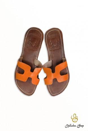 Sandales femme en cuir orange
