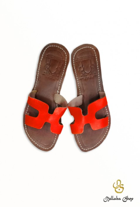 Women's bright red leather sandals
