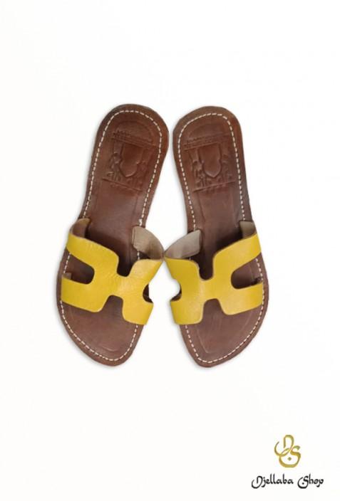 Sandales femme en cuir jaune