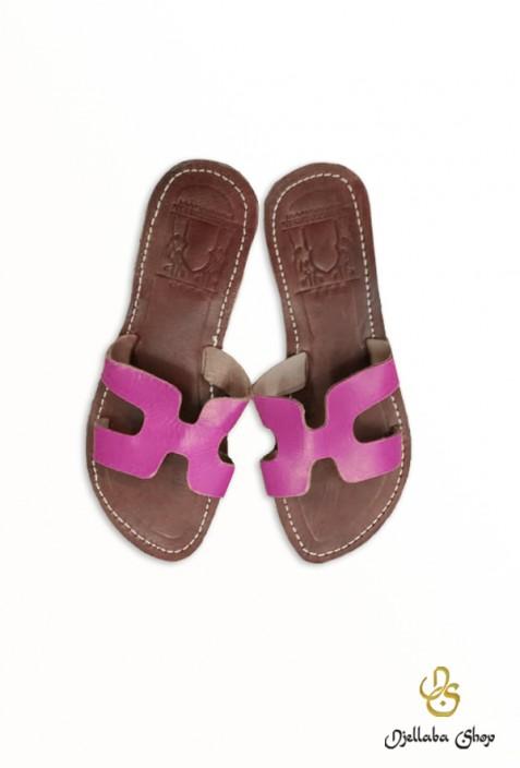 Sandales femme en cuir rose