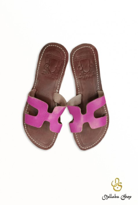 Women's pink leather sandals