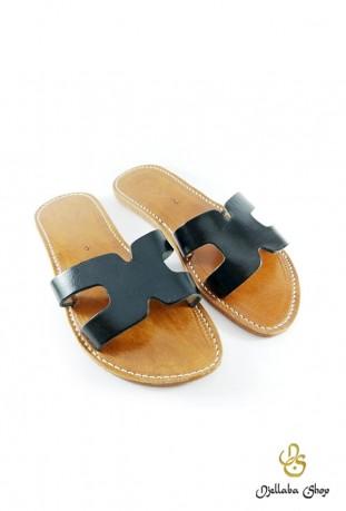 Sandales femme en cuir noir