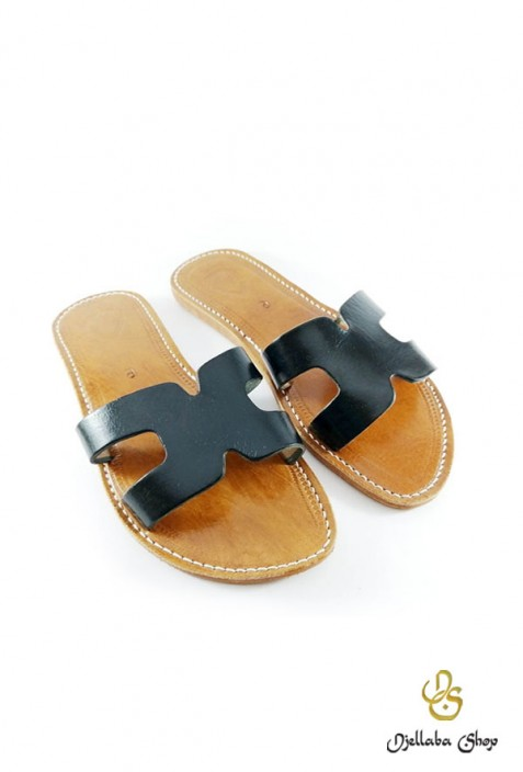 Women's black leather sandals