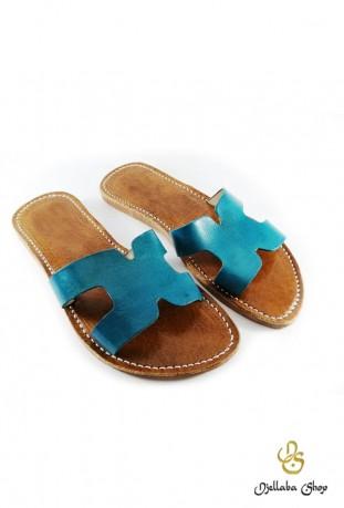 Women's blue leather sandals