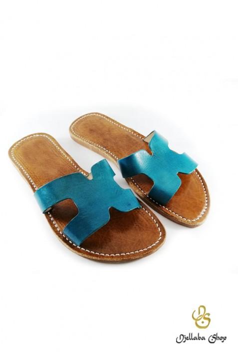 Sandales femme en cuir bleu
