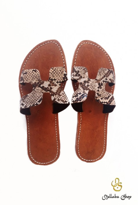Women's snake-effect leather sandals
