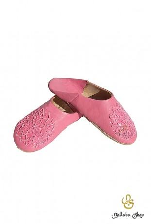 Babouches enfant cuir rose et perles