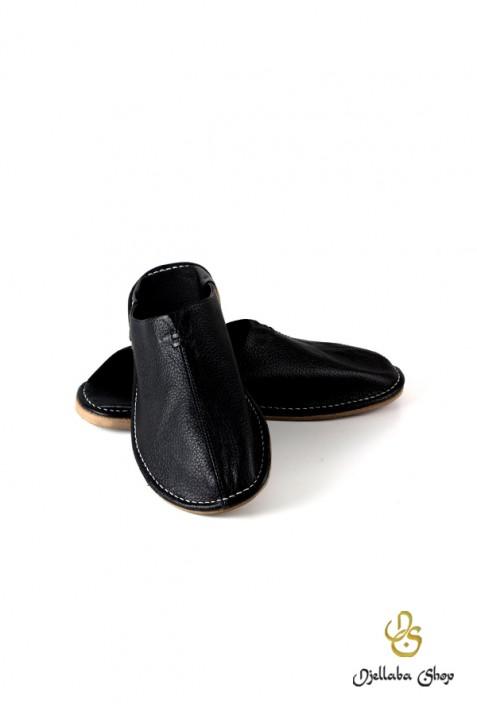 Babouches Kind schwarzes Leder