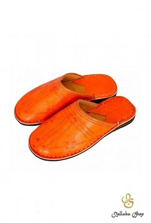 Babouches en cuir orange