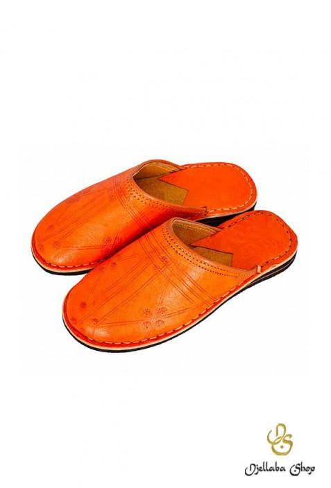 Orange leather slippers