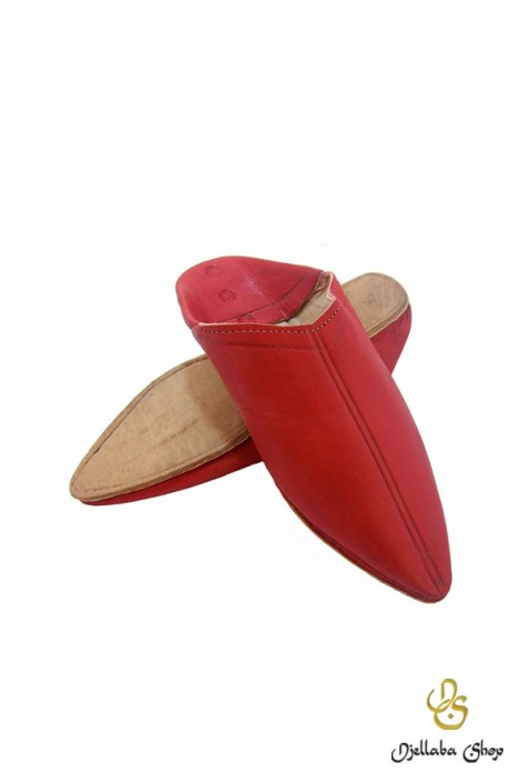 Slippers man in red leather