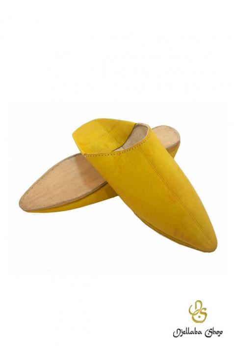 Zapatillas de hombre en cuero amarillo tradicional