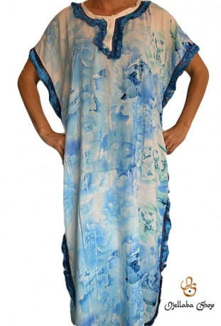 Djellaba mujer azul playa kaftan series