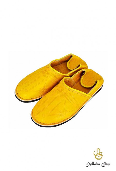 Berber yellow leather slippers