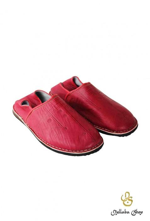 Babouches en cuir rouge berbere