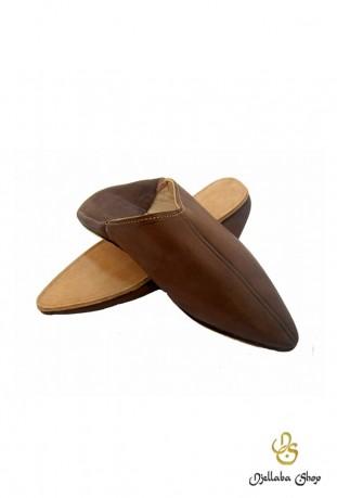 Zapatillas hombre en piel marron