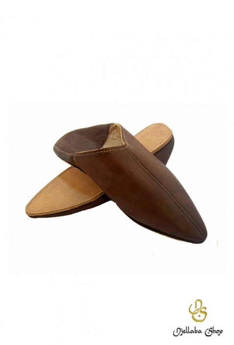 Slippers man in brown leather