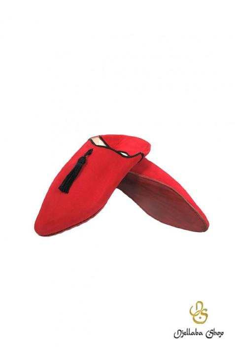 Zapatillas hombre rojas con pompones