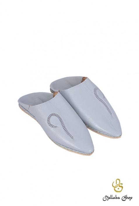 Men's slippers in light gray leather