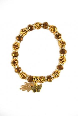 Bracelet noir main de Fatma et papillon