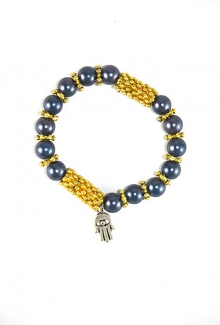 Bracelet traditionnel gris et or
