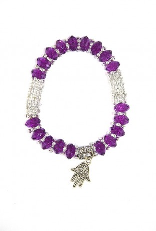 Bracelet traditionnel gris et violet