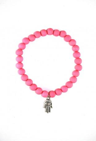Pulsera de perlas de color rosa