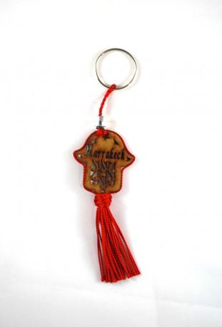 Porte clés bois et fil de sabra rouge