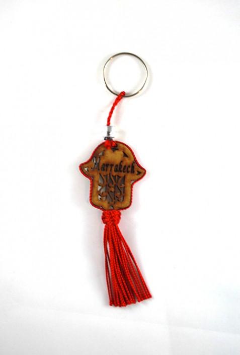 Madera y alambre llavero de Sabra roja