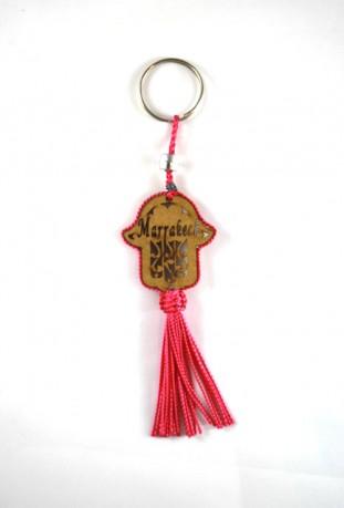 Porte clés bois et fil de sabra rose