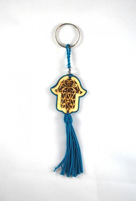 Porte clés bois et fil de sabra bleu