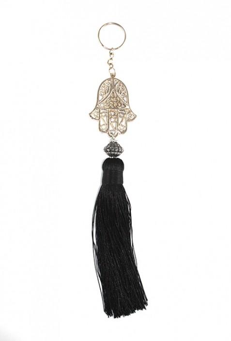 Porte clés bois et fil de sabra noir